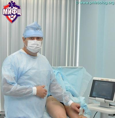 """Head of the phlebology center """"MIFTS"""" Semenov A.Yu. in the operating room"""