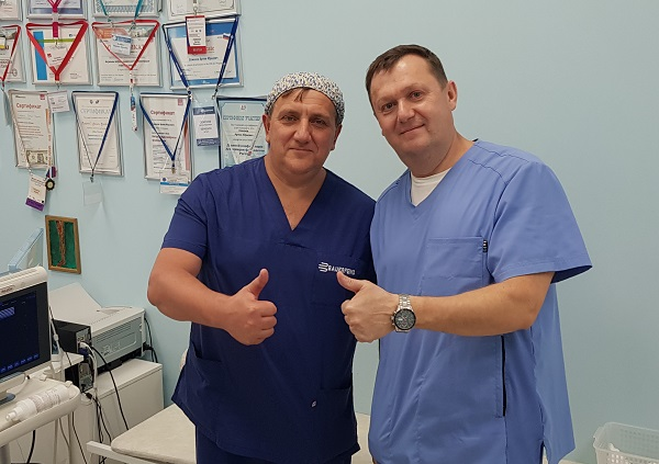 Cardiovascular surgeon phlebologist A.V. Kulkov from Nakhodka with A.Yu. after the master class