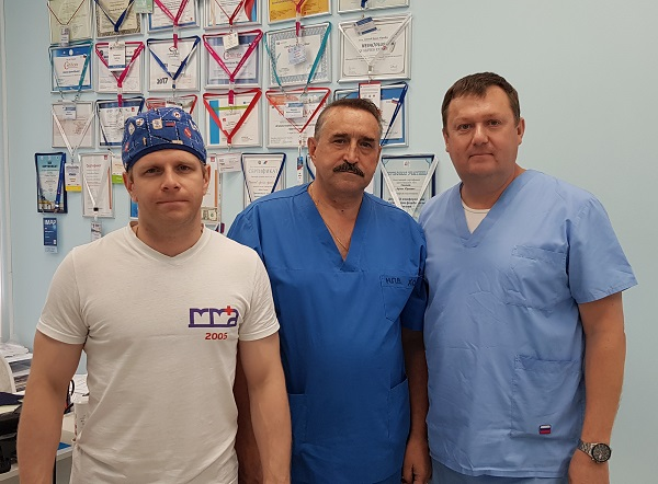 """Nikonov Petr Vladimirovich with phlebologists """"MIFC"""" after a master class"""