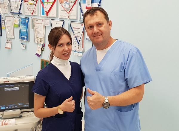 Vascular surgeon, phlebologist Mogunova E.A. from Izhevsk with Semyonov Artem Yurievich after a master class