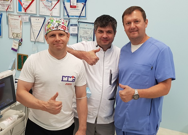 Surgeon phlebologist Iskhak Lyuay Nihad from Nalchik with A.Yu. Semenov. and Kalachev I.I. after the master class