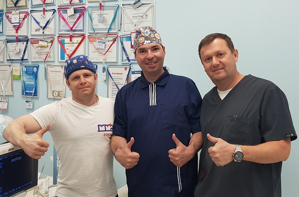 """Phlebologist surgeon G.K. Pustakhaylov from Togliatti with doctors """"MIFC"""" after a master class"""