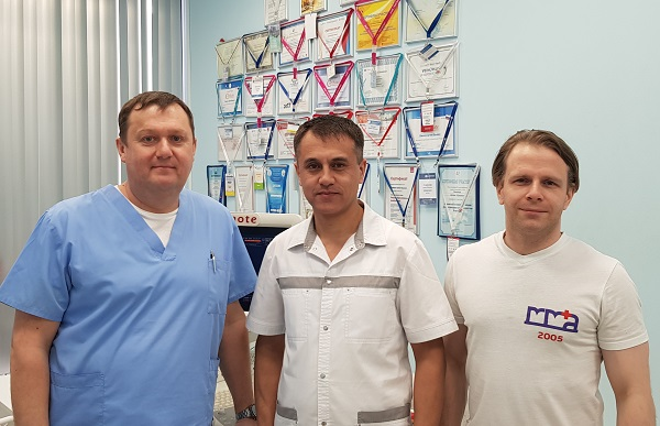 "Phlebologists Semenov A.Yu., Kalachev I.I. and Mirsadikov R.R. at the phlebology center ""MIFC"""