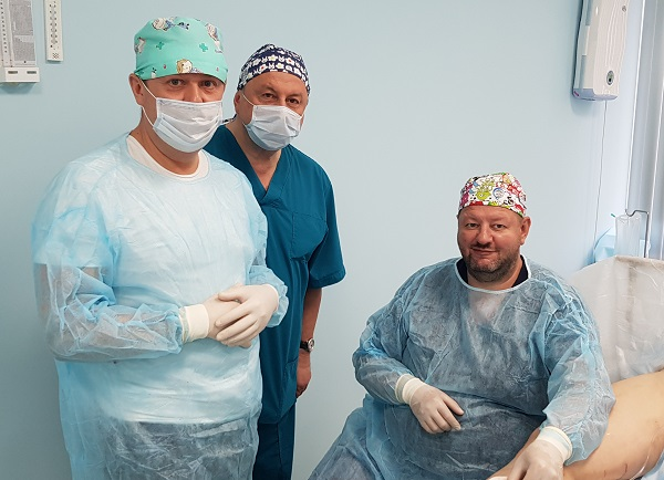 "Professor Shimanko A.I. with phlebologists ""TsSF"" Semenov A.Yu. and Fedorov D.A."