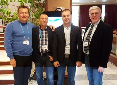 Phlebologists A.Yu. Semenov, S.V. Maximov, A.N. Voloshkin and A.E. Koreshkov before the conference