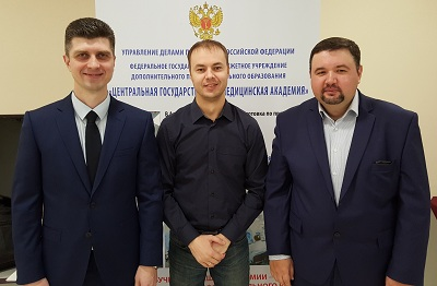 "Head Department of phlebology ""MIFC"" Voloshkin A.N. with phlebologists S.V. Drobyazko and Karev M.A."